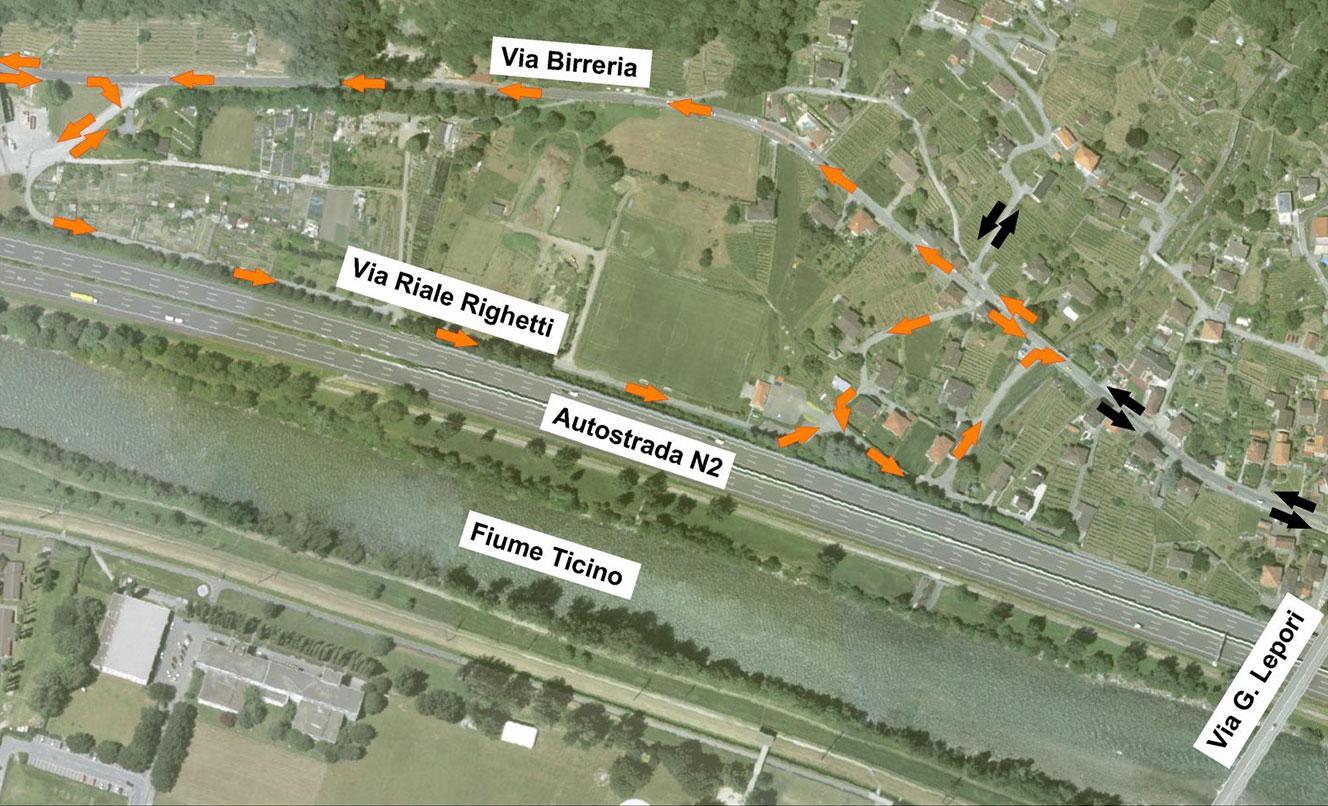 Ajustes de carreteras y ciclos, Via Birreria, BELLINZONA – SUIZA